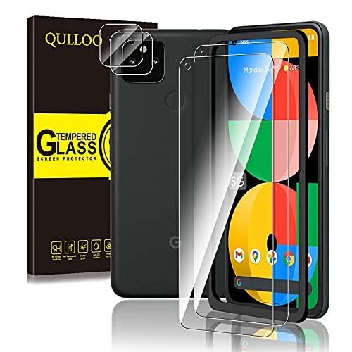 【2+2】 QULLOO Google Pixel 5a 5G ガラスフィルム + カメラフィルム ガイド枠付き 強化ガラス 高硬度9H 防指紋 傷防止 耐衝撃 99%高透過率 飛散防止 pixel5a 保護フィルム + レンズフィルム