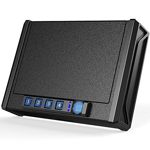 Biometric Pistol Safe, Gun Safes for 2 Pistols, Quick-Access Handgun Safe with Fingerprint/Password/Key Access, LED, Mute Mode, Ideal for Small Drawer, Nook, Nightstand, Office, Backpack or Car