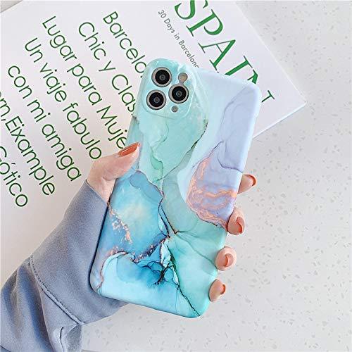 Funda para iPhone FQSCX Fashion Matte Marble Texture Stone Funda para teléfono para iPhone 11 Pro MAX 12 Pro 12Mini X XR XS MAX 7 8 Plus Funda Trasera IMD Suave paraiPhoneX IU0572