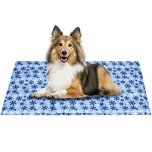 Alfombrilla de refrigeración para perro o gato, PVC, lavable, diseño de copos de nieve, talla L (90 x 50 cm)