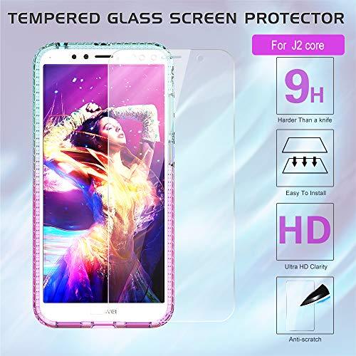 LeYi Hülle Huawei Y6 2018 Glitzer Handyhülle mit Panzerglas Schutzfolie(2 Stück), Diamond Cover Bumper Schutzhülle für Case Huawei Y6 2018 Handy Hüllen ZX Gradient Turquoise Purple - 6