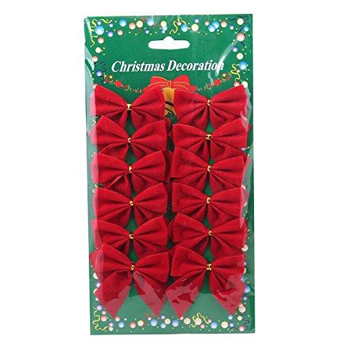 Domire Sapin De Noël Bow Décoration Boules fête de Noël Jardin Noeuds Ornement - Rouge