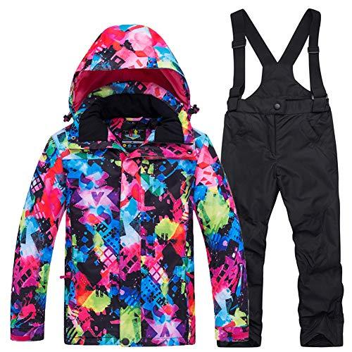 LPATTERN Kinder Jungen/Mädchen Skifahren 2 Teilig Schneeanzug Skianzug(Skijacke+ Skihose), Bunt Jacke+ Schwarz Trägerhose, Gr. 146/152(Herstellergröße: XXL)