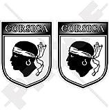 KORSIKA Korsischer Schild FRANKREICH Corse 75mm Auto & Motorrad Aufkleber, x2 Vinyl Stickers
