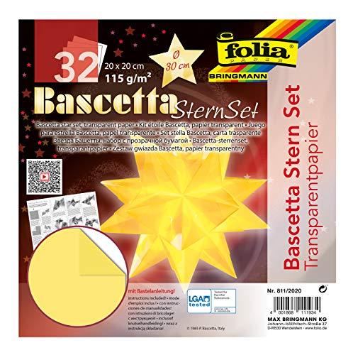 folia 800/2020 - Bastelset Bascetta Stern, Transparent weiß, 20 x 20 cm, 32 Blatt, fertige Größe des Papiersterns ca. 30 cm, mit ausführlicher Anleitung - ideal zur zeitlosen Dekoration
