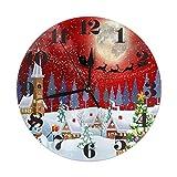 Kncsru Navidad Alegre Paisaje árbol muñeco de Nieve Caja de Regalo Reloj de Pared Redondo silencioso...