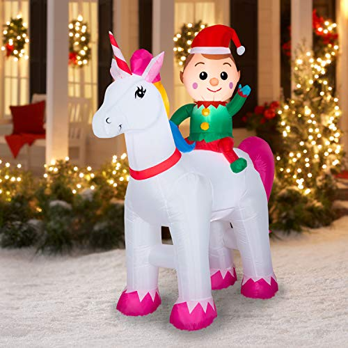 Gemmy Christmas 6ft Airblown Inflatable Unicorn with Elf