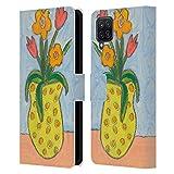 Head Case Designs Offiziell Zugelassen Wyanne Kleine Vase Und Blumen Natur Leder Brieftaschen Handyhülle Hülle Huelle kompatibel mit Samsung Galaxy A12 (2020)