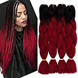 GX beauty 4Packs Kanekalon Braiding Hair Ombre Red Jumbo Braids Hair 24Inch Synthetic Heat Resistant Braid Hair Extensions (Black to Red)