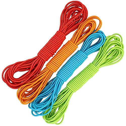 com-four® 4X Gummitwist Band für Kinder - Springseil aus Gummi - Hüpfgummi [Farbe variiert] (10 Meter - 04 Stück bunt)