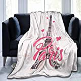 KiuLoam Pink Paris Eiffel with Love Soft Throw Blanket 40'x50' Lightweight Flannel Fleece Blanket for Living Room Bedroom Sofa Couch Warm and Cozy
