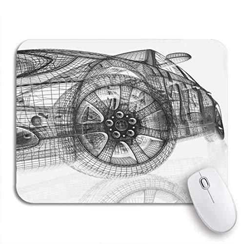 MATEKULI Alfombrilla de ratón,Línea Modelo 3D Coches Motor Render Tecnología de Cables Invención,Goma Antideslizante Rectangular para Escritorio,portátil,Oficina,Trabajo,9.5'x7.9'