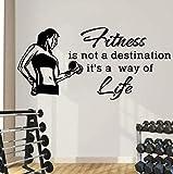 Adesivi Murali Decalcomanie Da Muro Di Sport Citazioni Il Fitness Non È Una Destinazione È Uno Stile Di Vita Adesivo In Vinile Palestra Art Mural 57X29Cm