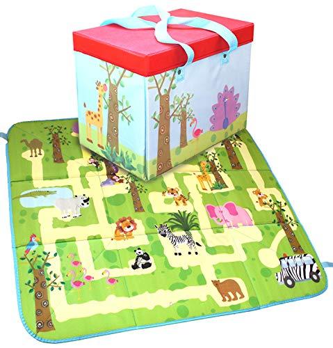 Buabi Caja arcón de Juguetes, se Convierte en Alfombra de Juegos (Safari)