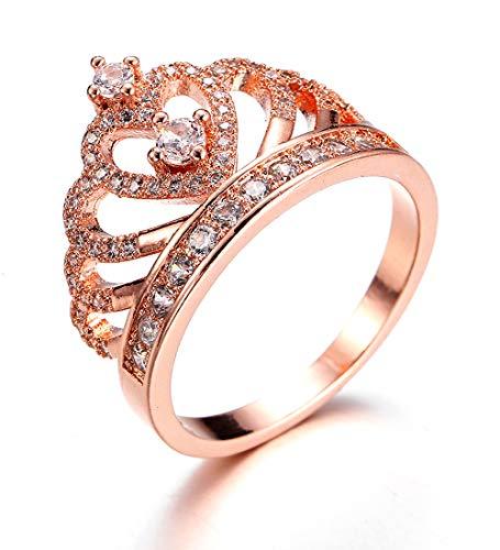 Anelli Donna Gioielli Fidanzamento Principessa Cuore Corona Tiara con Oro Rosa Placcato Zirconia cubica fedine Nuziali Regalo per Ragazze