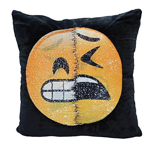 Snug Star - Fodera copricuscino reversibile con sirena e paillettes, con emoji che cambia, cuscino decorativo fai da te per divano, Home Decor 40 x 40 cm Embarrassing and tortured
