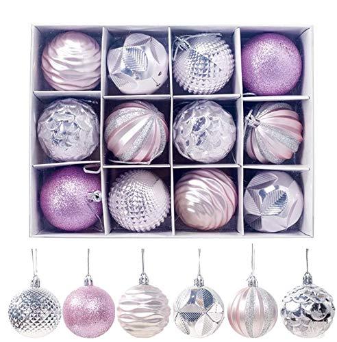 Sunnysam 12 Piezas 6 cm Adornos de Bolas de Navidad árbol de Navidad decoración Ligera y ecológica para Colgar en Ventanas, Rosa (Rosa)