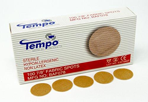 "Tempo Adhesive Fabric Spot Bandage 7/8"", Sterile, Non Latex, Hypoallergenic, 100 EA/BX & 60 BX/CS, BAF078"