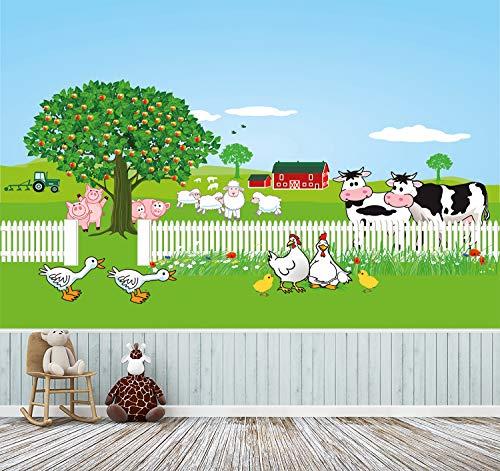 Fototapete selbstklebend | Auf dem Bauernhof | in 225x150 cm | Kindertapete Tapete Wand-deko Dekoration Kinderbild Kinderzimmer Jungs Mädchen