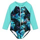 Fanient Girls Rashguard Swimsuit Galaxy Print Quick Dry Swimwear UPF 50+ Long Sleeve One Piece Bathing Suit with Zipper 1-2T