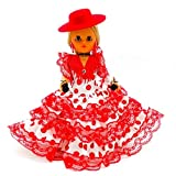 Folk Artesanía Muñeca Regional colección 35 cm con Sombrero cordobesa Vestido típico Andaluza o Flamenca Andalucía Córdoba España, Nueva y Original. (Rojo Lunar Negro)