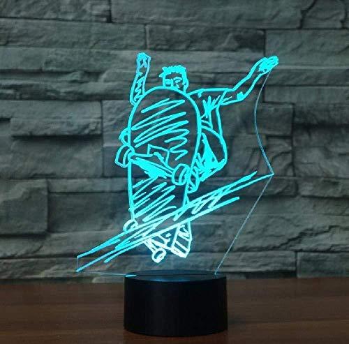 Skateboarding, Skateboarding, 3D LED-nachtlampje, touch-usb-skateboard, tafellamp, verbazingwekkende optische slaapverlichting, kerstcadeau, smartphone, bluetooth-besturing