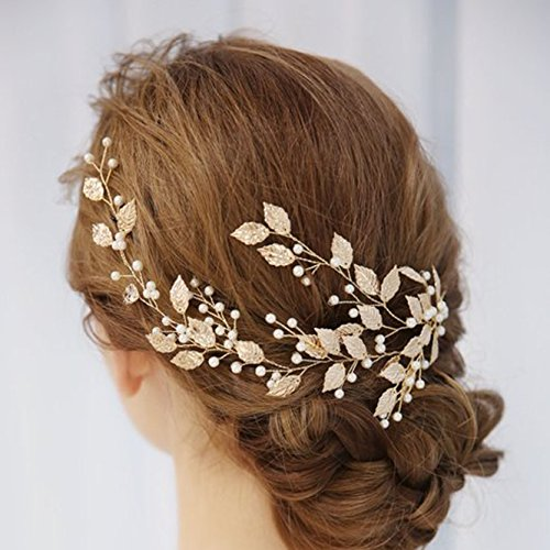 Unicra Wedding Leaves Hair Vines with Pearl Wedding Bridal Headpieces Headbands for Bride and Bridesmaid (Gold)