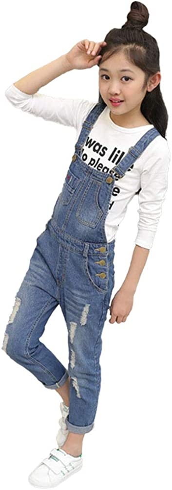 Digirlsor Kids Adjustable Strap gift Blue Girls Long Jeans Ripped Direct sale of manufacturer Sus
