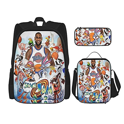 Space Jam - Mochila unisex de 3 piezas, mochila para niños y niñas, adolescentes, mochila clásica de moda