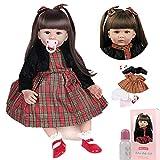 ZIYIUI 24 Pulgadas 60cm Reborn Muñeca renacida Muñeca de niño Muñeca de Vinilo de Silicona Muñeca Realista Chica asiática Pelo Largo Negro Reborn Doll