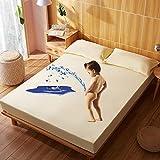Amswsi Sábana de Cama Impermeable de algodón para bebé, Funda de Cama antiácaros de Color sólido, Alfombrilla cambiante, Funda Protectora, Amarillo Claro_200 * 220cm
