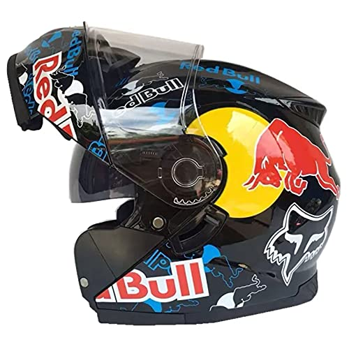 TKTTBD Flip Up Front Motorbike Motorcycle Helmet, with Double Visor Anti-Fog ECE Approved Racing Crash Red Bull Helmets for Adults Men and Women B,XL (60-62cm)