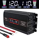 LVYUAN 1500W Power Inverter 12V to 110V DC to AC with LCD Display