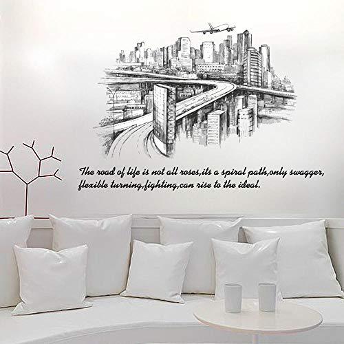 Tatuaje en la pared de la ciudad, dibujo de silueta, fondo de PVC para salón, moderno, decoración de pared, extraíble, 60 x 90 cm