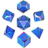 Hestya 7 Pieces Metal Dices Set DND Game Polyhedral Solid Metal D&D Dice Set with Storage Bag and Zinc Alloy with Enamel for Role Playing Game Dungeons and Dragons, Math Teaching (Colorful Indigo)