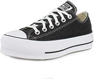 Converse Womens Chuck Taylor All Star Lift Glitter Low Top Black/White/Black Sneaker - 8.5