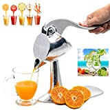 Stainless Steel Manual Fruit Squeezer Hand Press Juicer Heavy Single Press Squeezer Citrus Lemon Orange Pomegranate Press Juicer Extractor Portable Kitchen Gadget (Single Press Squeezer)