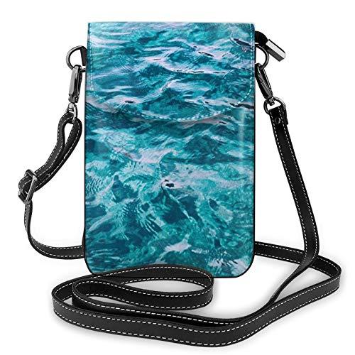 Bolso ligero del teléfono celular de la PU de la piel, hermosa superficie del mar pequeño Crossbody bolsos bolso de hombro cartera Pounch bolso para las mujeres, color Negro, talla Talla única