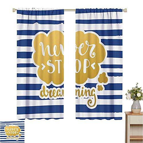 Cortinas opacas, 2 paneles, decoración de citas, frase inspiradora de temática marina para la vida, diseño artesanal de estilo vintage azul marino decorativo, azul dorado, para paneles de oscurecimien