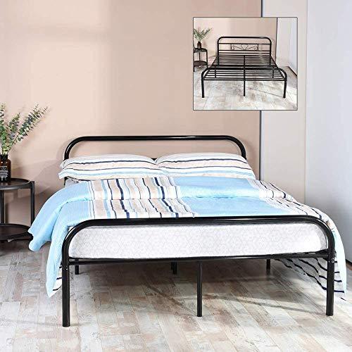 Aingoo - Estructura de cama doble de metal resistente con cabecero y listones de metal resistente, color negro