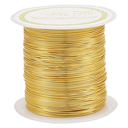 PandaHall Alambre de cobre resistente al desgaste de 75.5 pies de calibre 24 para joyería de joyería (dorado)