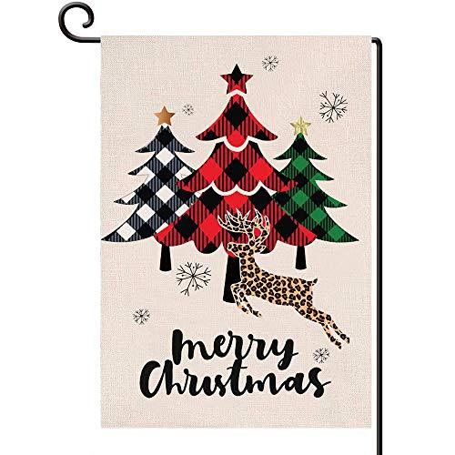 Disheen Merry Christmas Garden Flags 12 X 18 Double Sided, Buffalo Plaid Xmas Tree Flag Yard Flag for Christmas, Christmas Deer Outdoor Decorations