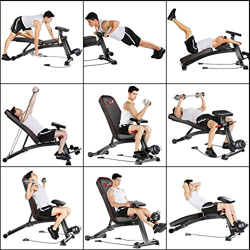Adjustable 90°Flat Weight Bench Training Bench for Full Body Workout Multifunctional Foldable Fitness Flat Bench Weighted 300lb for Home Gym Incline Decline Perfect for Bench Press Sit-ups Leg Lifts