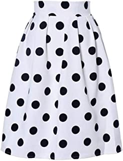 5a03aa0c3097 AopnHQ Women s Fashion High Waist Loose Retro Polka Dot Half-Length  Pettiskirt Skirt