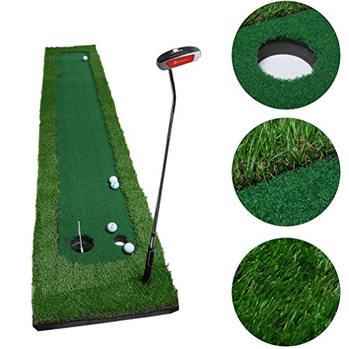 OUTAD Golf Putting Mat, Indoor Golf Training Mat Putting Green System Professional Golf Practice Mat Green Long Challenging Putter(1.6ftx10ft)