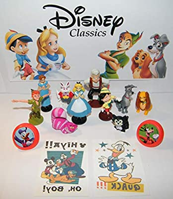 HappiToys Classic Animated Movie Figure Set of 14 Toy Kit Featuring Figures from Peter Pan, Alice in Wonderland, Pinocchio, Lady and The Tramp, Mickey Mouse Tattoos and More!