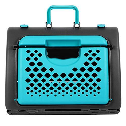YOUTHINK Jaula portátil para Mascotas ABS con cerraduras de Seguridad Manija Ondulada Portador de Gato para Perro ventilado Jaula portátil para Mascotas Azul