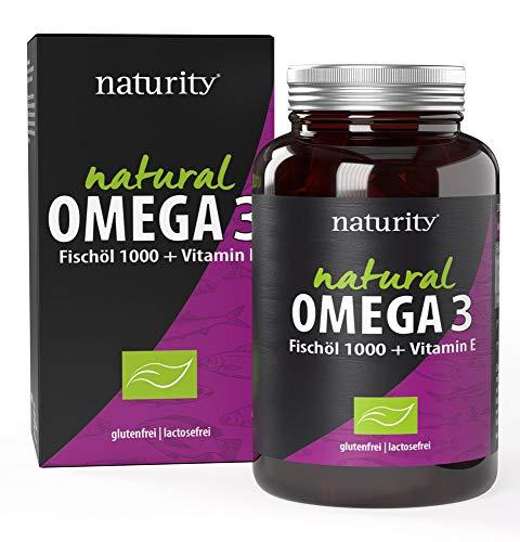 NATURAL OMEGA 3 Fischöl 1000 + Vitamin E, unterstützt die Funktion des Herzens, für eine gesunde Gehirnfunktion, mit natürlichen Omega-3-Fettsäuren, natürliche Inhaltsstoffe (60 Kapseln)