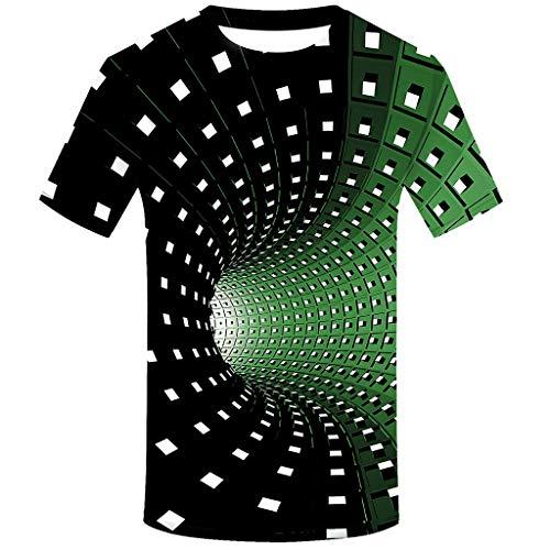 FRAUIT T-Shirt Herren 3D Druck Rundhals Kurzarm Shirt Lässig Lustig T Shirt Sommer Top Weich Bequem Oberteil Kleidung Bluse Mode Streetwear (T-Grün, XXXL)