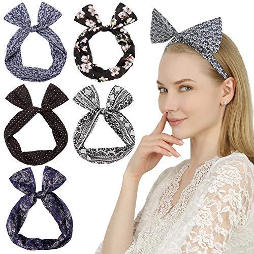 Sea Team Twist Bow verdrahtete Stirnbänder Schal wickeln Haar-Accessoire-Haarband (5pcs-D)